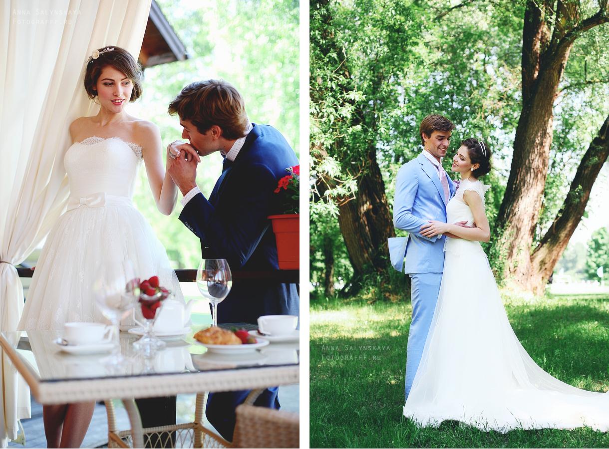 свадебная фотосессия на природе стильная
