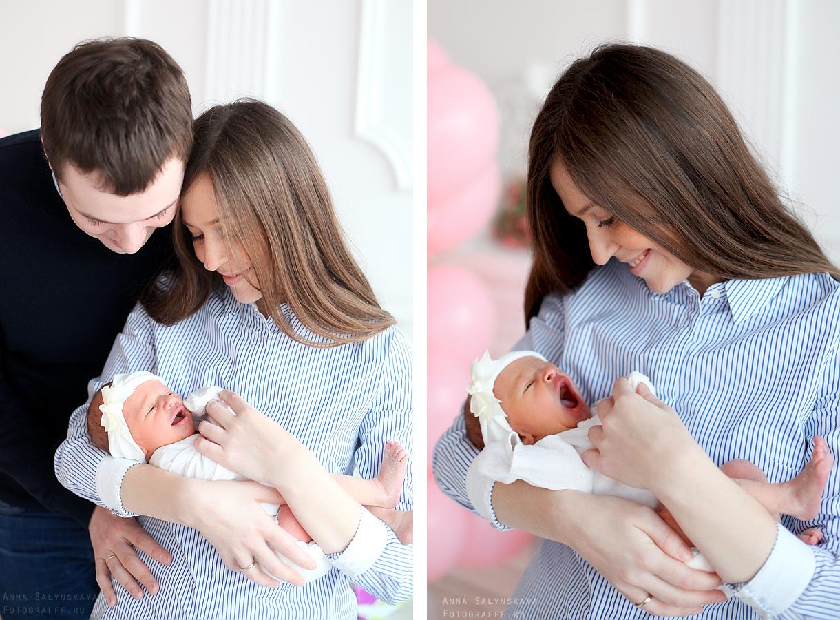 Фотосессия с новорожденным ребенком в студии